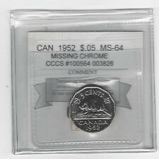**1952 Miss. Chrome**, CMG Graded Canadian, Five Cent,**MS-64** CCCS#