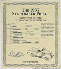 Danbury Mint 1937 Studebaker Red Coupe Express Pickup Certificate of Title
