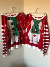 HOLIDAY DOUBLE SWEATER SNOWMEN~Size S/M~