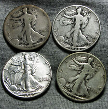 1919-S + 1927-S + 1928-S + 1942  Walking Liberty Half Dollars -- L@@K -- #O748