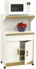 Rolling Microwave Cabinet Kitchen Storage Stand Portable Wood Cupboard White