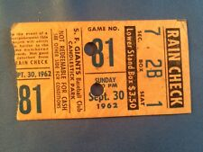 1962 Willie Mays Ticket HR #366 LL HR/Forces Play-Off S.F. Giants Win Pennant Ex