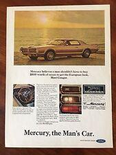Vintage 1967 Original Print Ad Ford MERCURY COUGAR European Look Man's Car