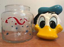DISNEY CANDY JAR COOKIE DONALD DUCK  GLASS WALT VTG COLLECTORS CERAMIC