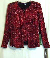 ONYX NITE BLACK WITH RED SWIRLING GLITTER 2 PCE CARDIGAN SET SIZE M FULLY LINED