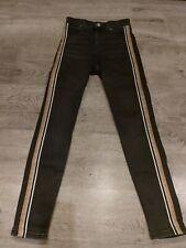 Topshop Moto Jamie  Black Jeans With Side Stripes 26W, W32