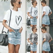 UK Womens Heart Summer Basic Blouse Tops Ladies Short Sleeve T Shirt Shirts Tee