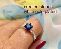 1ct round sapphire DIAM0NDS dress ring size N
