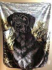 """Black Labrador Retriever Plush Throw Blanket 60"""" X 48"""" Super Soft"""
