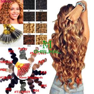 8A Curly Wavy Fusion Keratin Nano Ring Beads I Tip Remy Human Hair Extensions