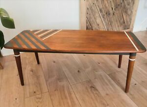 Mid Century Retro Teak Hand Painted Coffee Table