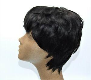 VRZ Beauty Short Black Slight Curl Human Hair Pixie Cut Wig