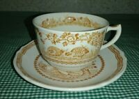 Furnivals Quail Brown Breakfast Cup & Saucer Set Birds Flowers Band England EXC