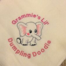 Personalized Embroidery Baby Fleece Elephant Blanket