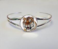 Tigre sur un plaqué argent bracelet gourmette bijoux de fantaisie idéal femme cadeau L35