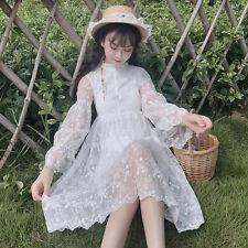 Japanese Vintage Mori Girl Elegant Sweet Lolita Kawaii Lace Fairy Princess Dress