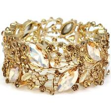 Elegant Bridal Formal Gold Champagne Vine Marquise Crystal Statement Bracelet