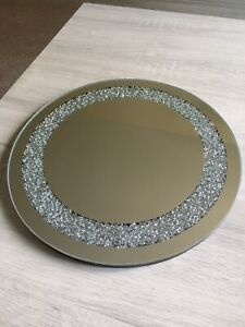 30CM CRUSHED JEWELS DIAMANTE MIRRORED CANDLE PLATE BLING WEDDING TABLE ROUND