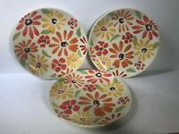 Pier 1 Hand Painted Earthenware Dinner Plates Flowers Pattern Set of 3
