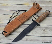 CASE CUTLERY USMC HUNTING MILITARY KNIFE WITH LEATHER SHEATH MADE IN USA