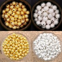 Gold / Silver Plated Alloy Round Spacer Loose Beads 3mm 4mm 5mm 6mm 8mm 10mm