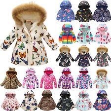Girls Winter Thick Coat Hooded Jacket Warm Padded Floral Overcoat Soft Outerwear