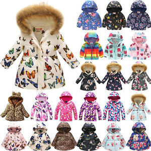 AU Kids Girls Warmer Thick Coat Hooded Jacket Warm Padded Floral Down Overcoat