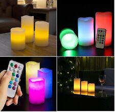 Battery Operated LED Colour Changing Candles Timer Flame Flicker Wax Candle