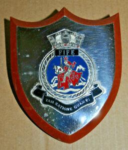 Vintage HMS Fife desk plaque shield ships crest