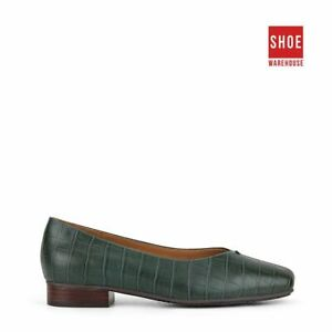 Hush Puppies SOLANA Green Womens Flat Dress/Formal Leather Shoes
