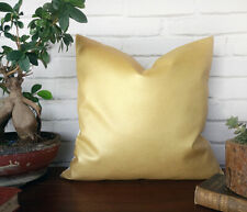Gold color  faux leather- white cotton pillow cover-16''x16''