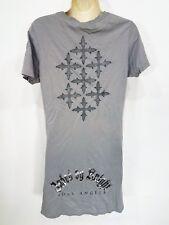 LN! Jaded by Knight Lost Angels Gray Tee shirt Crosses Sz L Longer length