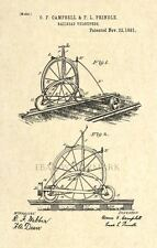 Official Railroad Bicycle Patent Art Print - Penny Farthing Velocipede -120