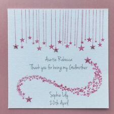 Personalised Handmade Godmother Thank You Card - Godfather - Godparents - Stars