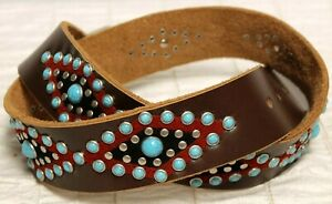 Revolution Country Leather Belt 36 Turquoise Studded SW-Design Red Suede Diamond