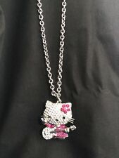 Hello Kitty Crystal Pave Pendant on Long Chain