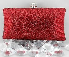 Luxury Pillow Evening Bag With Hot Red Swarovski Crystal Party Purse Clutch