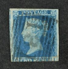 QV, 1841 2d. blue, a used, three margin example.