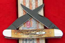 Case XX 6.5 Bone Stag Muskrat Pocket Knife - Blued Damascus Steel - USA 34803