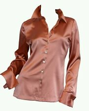 Designer Pure Silk Charmeuse Satin Longsleeve button down Blouse size Small 2 4