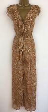 SELFIE LESLIE Jumpsuit Tan Brown Floral White Chiffon Ruffle BNWTS Uk 8-10