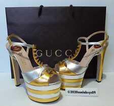 Gucci Women's Angel Studded T-Strap Platform Sandals, Old Gold/Silver, Size 38.5