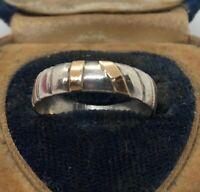 Vintage 14k Gold Sterling Silver Ring 925 Band Modernist Size 8