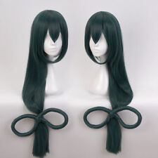 My Boku no Hero Anime Academia Tsuyu Asui Long Dark Green Cosplay Hair Wig