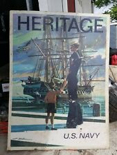 1960/70s Navy Recruiting Metal Sign 2 side Heritage & Guardians of Freedom