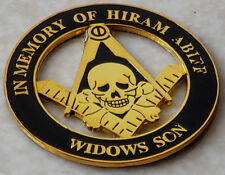 "Masonic SKULL In Memory of Hiram Abiff Widows Son 3"" Alloy Cut-Out Car Emblem GB"
