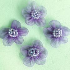 "40 Organza Sheer Ribbon Bead Flower 1"" Appliques Sewing Trim Dress Craft Purple"