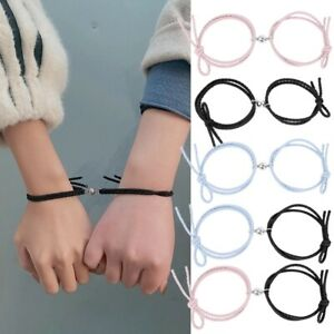 2Pc Couple Matching Friendship Bracelet Rope Braided Magnetic Distance Bracelet@
