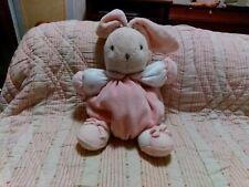 Peluche doudou lapin boule KALOO fleur rose crème lilirose grelot 16/27 cm TTBE
