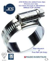 JCS Hi-Grip zinc plated hose clips BS5315 sizes start at 9.5-12mm upto 390-420mm